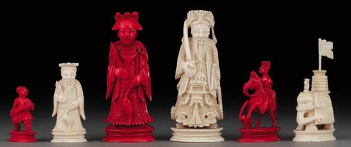 A Chinese ivory figural chess