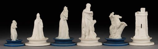 A Wedgewood porcelain chess se