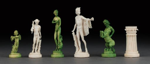 An ivory figural chess set