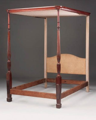 A mahogany and inlaid four pos