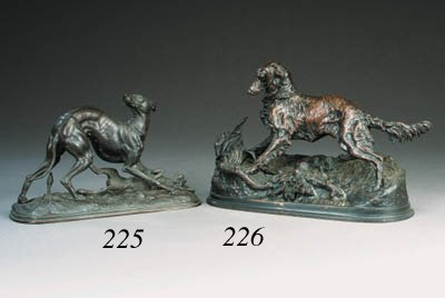 A French bronze model of a set
