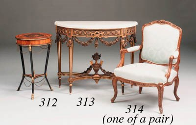 A carved giltwood console tabl
