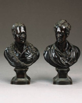 A pair of George IV bronze bus