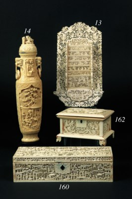 A Chinese ivory box and hinged