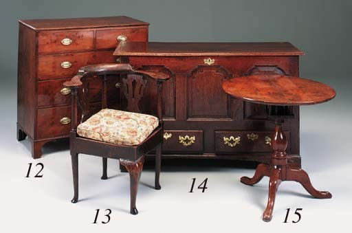 A yew-wood chest of drawers, E