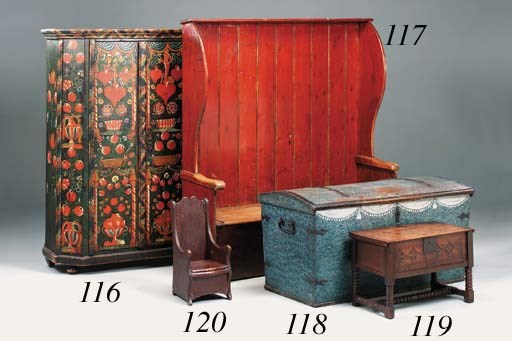 A red painted pine settle, Eng