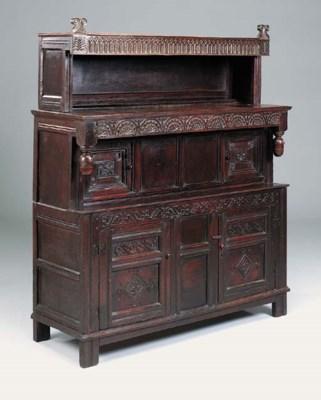 An oak press cupboard, Yorkshi