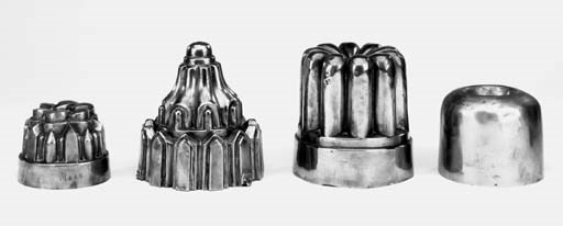 Four copper jelly moulds, 19th