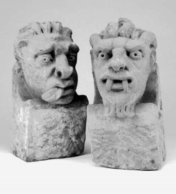 Two carved stone corbels, 19th