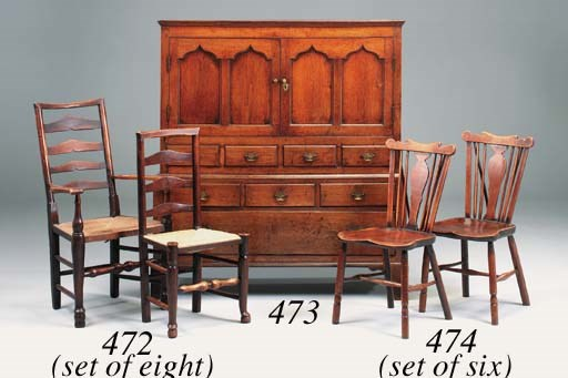 A set of six fruitwood Windsor