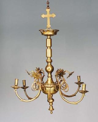 A Continental brass six-light