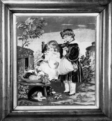 A Victorian needlework panel