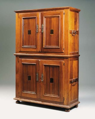 A large walnut cabinet, German