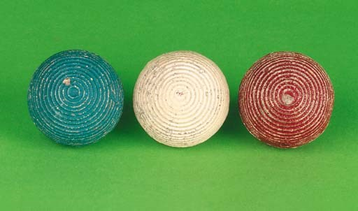 A SET OF THREE COLOURED GUTTY