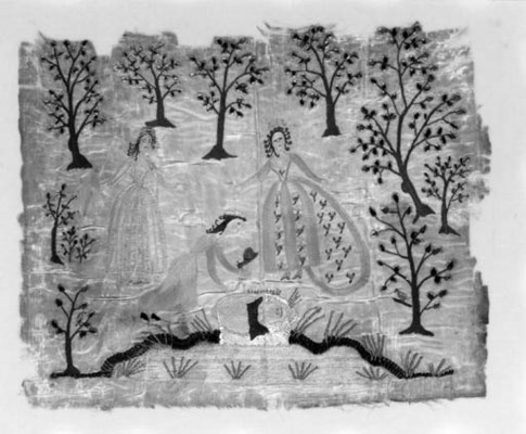 A charming panel of ivory silk
