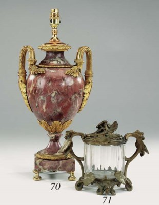 A Continental glass and bronze