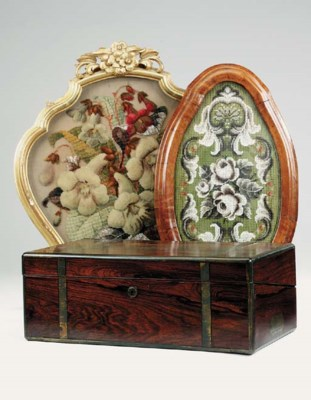A Victorian walnut and beadwor