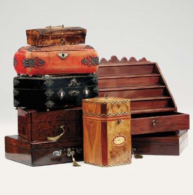 A collection of various boxes,