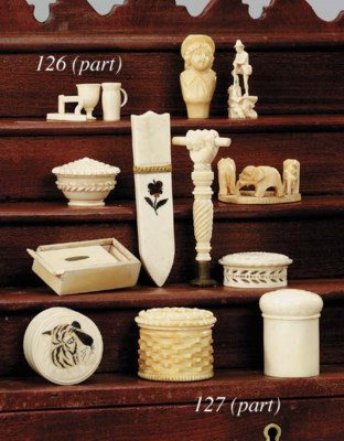 Six carved and turned ivory bo
