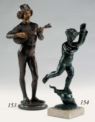 An English patinated bronze fi