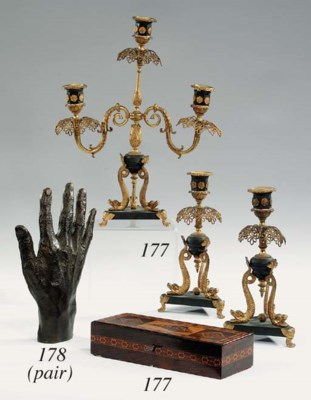 A French garniture of candelab