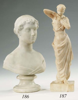 A Continental carved marble bu