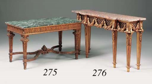 A carved giltwood centre table