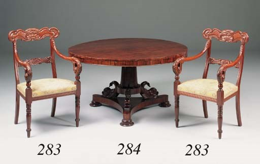 A rosewood breakfast table, ea