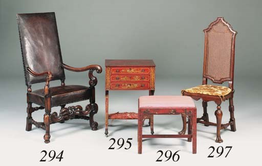 A red-lacquered and chinoserie