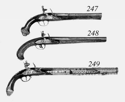 A Pair Of 16-Bore Turkish Flin