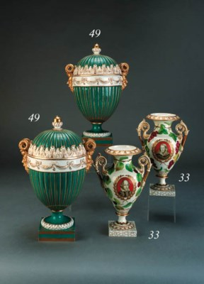 A pair of English porcelain tu