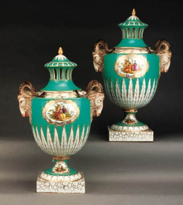 A pair of Dresden turquoise-gr