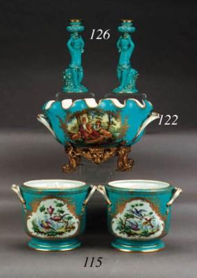 A pair of Sèvres style gilt-me