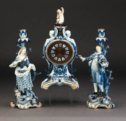 A Meissen blue and white clock