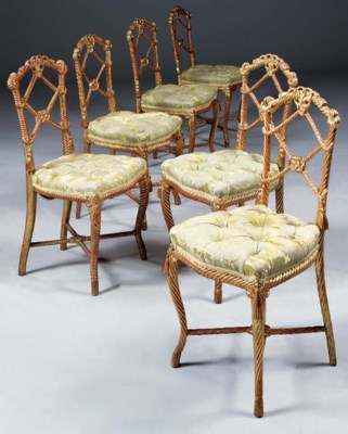 A SET OF SIX FRENCH GILT ROPE-