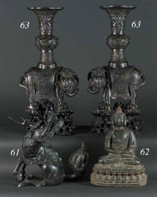 A Japanese bronze koro in the
