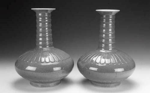 A pair of robin's egg glazed v