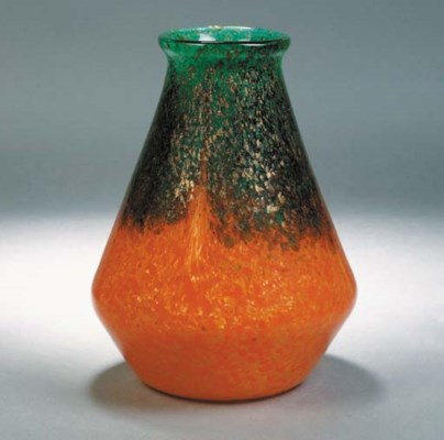 A Monart orange and green vase