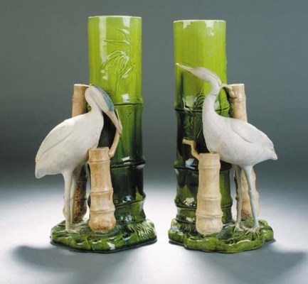 A pair of Bretby stork store v