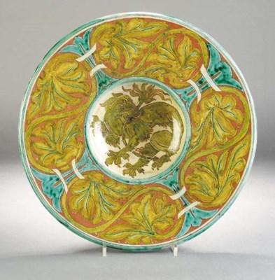A Della Robbia griffin bowl