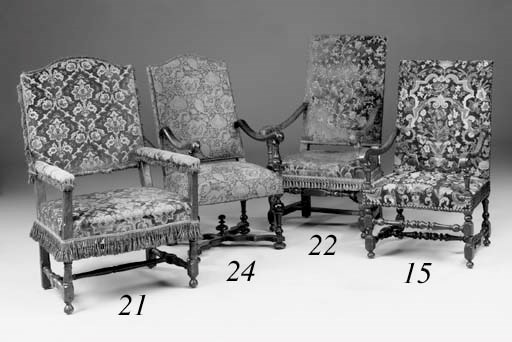 An oak open armchair, 19th cen