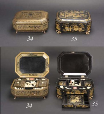 A Chinese Export gilt and blac