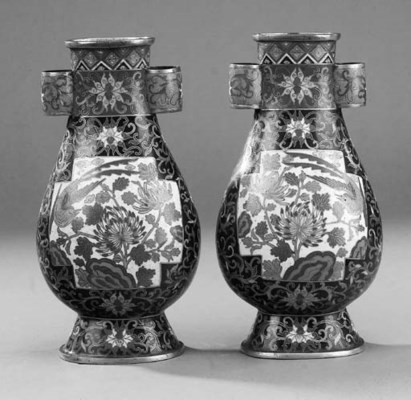 A pair of Chinese cloisonne hu