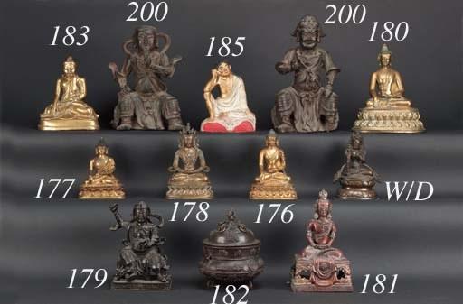 A Sino Tibetan gilt bronze Bud
