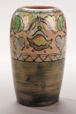 A Brangwyn Ware foliate vase