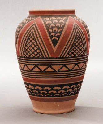 A vase decorated with zig-zag