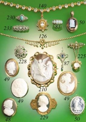 Two cameo pendants,