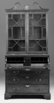 A mahogany and marquetry secre