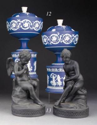 A pair of Adams blue dip-jaspe