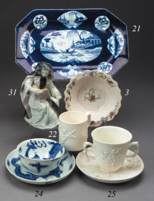A Bow blue and white teabowl a